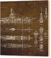 Submarine Blueprint Vintage On Distressed Worn Parchment Wood Print