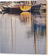 Subtle Colored Marina Reflections Wood Print