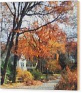 Suburban Street In Autumn Wood Print