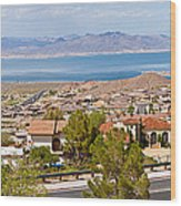 Suburbs And Lake Mead With Surrounding Wood Print