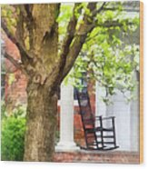 Suburbs - Rocking Chair On Porch Wood Print