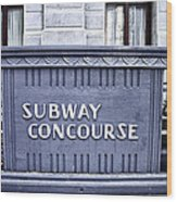 Subway Concourse At City Hall Wood Print