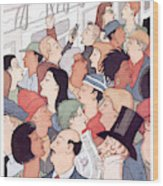 Subway Riders All Resemble Eustace Tilley Wood Print