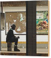 Subway Sitter Wood Print