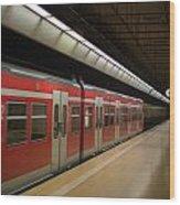 Subway Train At Platform Wood Print