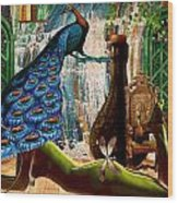 Suck My Peacock Wood Print