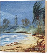 Sudden Storm Faro De Punta Tuna Wood Print