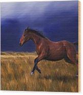 Galloping Horse Painting Wood Print