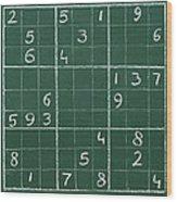 Sudoku On A Chalkboard Wood Print