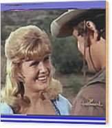 Sue Green Mark Slade The High Chaparral 1966 Pilot Screen Capture Collage 1966-2012 Wood Print