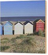 Suffolk Beach Huts Wood Print