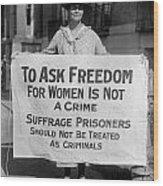Suffragist 1917 Wood Print