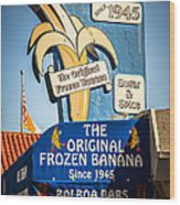 Sugar And Spice Frozen Banana Sign On Balboa Island Wood Print