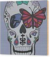 Sugar Candy Skull Blue Wood Print