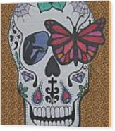 Sugar Candy Skull Leopard Wood Print