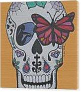Sugar Candy Skull Orange Wood Print