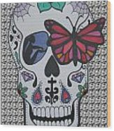 Sugar Candy Skull Pattern Wood Print