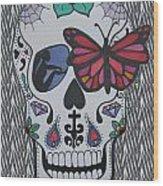 Sugar Candy Skull Zebra Wood Print