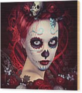 Sugar Doll Red Wood Print