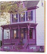 Sugar Plum Purple Victorian Home Wood Print