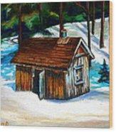 Sugar Shack Quebec Landscape Wood Print