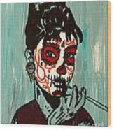 Sugar Skull Audrey Wood Print