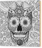 Sugar Skull Bleached Bones - Copyrighted Wood Print by Christopher Beikmann