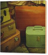 Suitcases In The Attic Wood Print