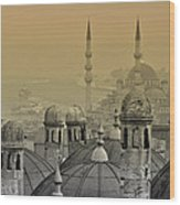 Suleymaniye Mosque And New Mosque In Istanbul Wood Print