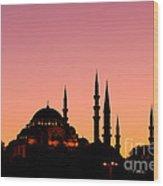 Suleymaniye Sundown 01 Wood Print by Rick Piper Photography