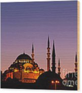 Suleymaniye Sundown 03 Wood Print by Rick Piper Photography