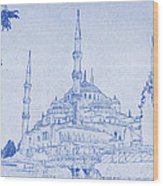 Sultan Ahmed Mosque Istanbul Blueprint Wood Print