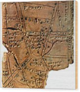 Sumerian Map, Clay Cuneiform Tablet Wood Print