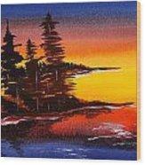 Sumi-e Blue Skies Wood Print