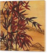 Sumi-e Red Bamboo Wood Print by Diane Ferron