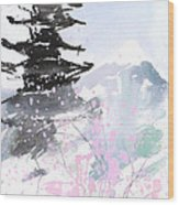 sumie No.10 Pagoda and Mt.Fuji Wood Print by Sumiyo Toribe