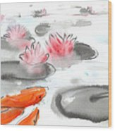 Sumie No.11 Koi Fish And Lotus Flowers Wood Print