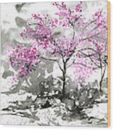 Sumie No.2 Plum Blossoms Wood Print