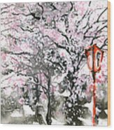 Sumie No.3 Cherry Blossoms Wood Print by Sumiyo Toribe