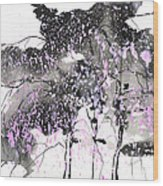 Sumie No.6 Weeping Willow Cheery Blossoms Wood Print
