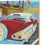 Cruising The Beach Wood Print