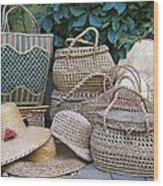 Summer Baskets And Hats Wood Print