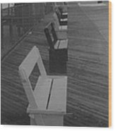 Summer Benches Seaside Heights Nj Bw Wood Print by Joann Renner