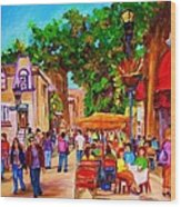 Summer Cafes Wood Print