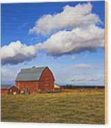 Summer Clouds Over Farm Country I Wood Print