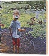 Summer Day At The Pond Wood Print