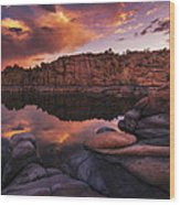 Summer Dells Sunset Wood Print