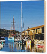 Summer Evening At The Harbour Wood Print