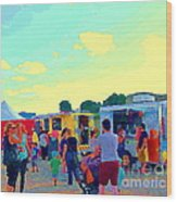 Summer Family Fun Paintings Of Food Truck Art Roadside Eateries Dad Mom And Little Boy Cspandau Wood Print