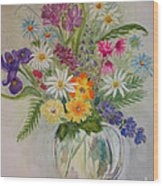 Summer Flowers In Vase Wood Print by Terri Maddin-Miller